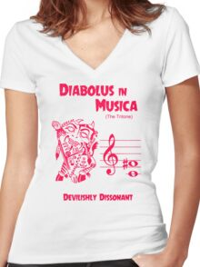 The Devil in Music Women's Fitted V-Neck T-Shirt
