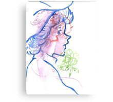 blue lady with green flower Canvas Print