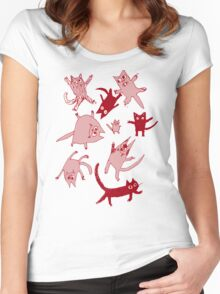 levitating kitties Women's Fitted Scoop T-Shirt