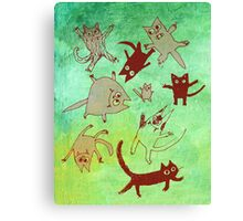 levitating kitties Canvas Print
