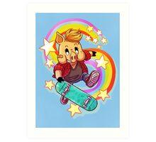 Skater Pig Art Print