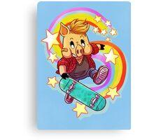 Skater Pig Canvas Print