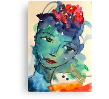 Green watercolor girl Canvas Print