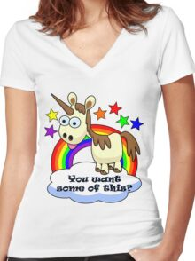 Unicorn - You Want Some of This? Women's Fitted V-Neck T-Shirt