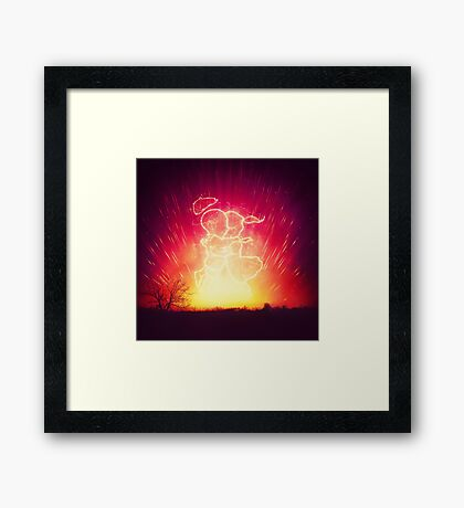 Cosmo + Celeste ( Colorful Cosmological Night Sky Couple in Love ) Framed Print