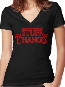 Stuff and Thangs  Women's Fitted V-Neck T-Shirt