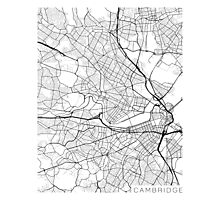 Cambridge Map, USA - Black and White Photographic Print