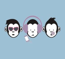 Three Hipster Apes Kids Tee