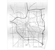Ann Arbor Map, USA - Black and White Poster