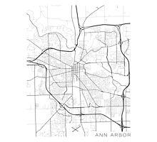 Ann Arbor Map, USA - Black and White Photographic Print