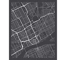 Detroit Map, USA - Gray Photographic Print