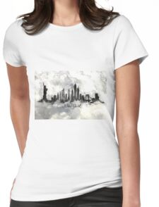 New york city skyline in Black and white Womens Fitted T-Shirt