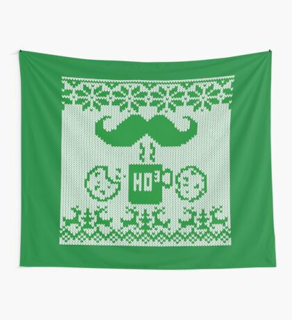 Santa's Stache Over Green Midnight Snack Knit Style Wall Tapestry