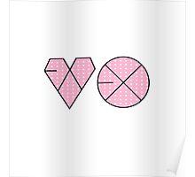 EXO Logo K-Pop Pink Polkadot Print  Poster