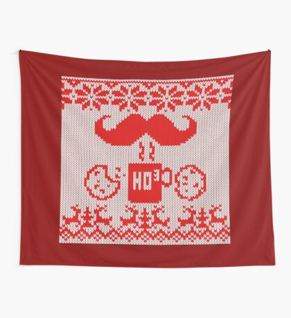 Santa's Stache Over Red Midnight Snack Knit Style Wall Tapestry