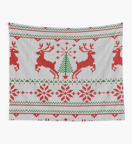 Holidays White Knit Ugly Christmas Sweater Ho Deer Wall Tapestry