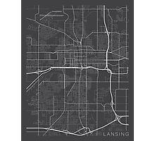 Lansing Map, Michigan - Gray Photographic Print