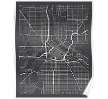 Minneapolis Map, USA - Gray Poster
