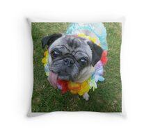 Hula Pug Throw Pillow