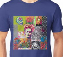 Frida Kahlo and Mexico Collage Pattern Unisex T-Shirt