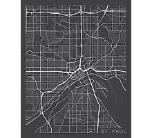 St Paul Map, USA - Gray Photographic Print