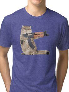 AK47 Kalashnikat Funny Cat Gun Tri-blend T-Shirt