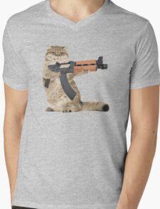 AK47 Kalashnikat Funny Cat Gun Mens V-Neck T-Shirt