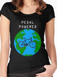 Pedal Powered, no fossil fuels required. Women's Fitted Scoop T-Shirt