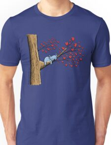Cute Sleeping Koala on Tree with Hearts Unisex T-Shirt