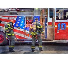 FDNY Firefighter fireman fire truck Illustration Painting art design fire house watercolor Photographic Print