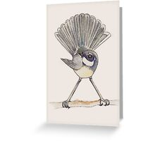 Grey Fantail in sepia tones Greeting Card