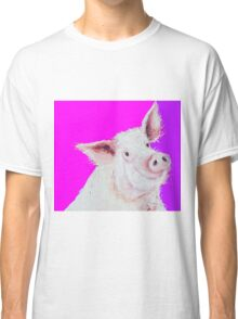 Pig painting on purple and pink Classic T-Shirt