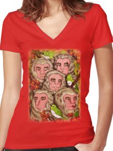 Macaques! Women's Fitted V-Neck T-Shirt