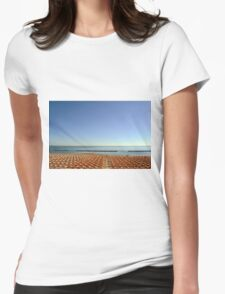 Long chairs on the beach in Rimini. Womens Fitted T-Shirt