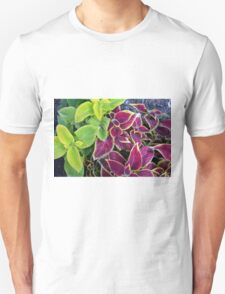 Natural background with green and purple leaves. Unisex T-Shirt