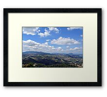 Natural scenery with the hills of San Marino and cloudy sky. Framed Print