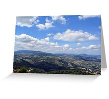 Natural scenery with the hills of San Marino and cloudy sky. Greeting Card