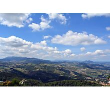 Natural scenery with the hills of San Marino and cloudy sky. Photographic Print
