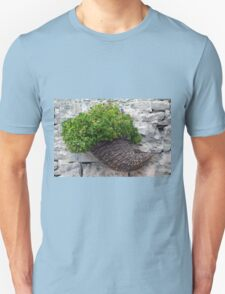 Wooden horn with plants on a stone wall. Unisex T-Shirt