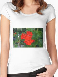 Red powerful color flower and green leaves background. Women's Fitted Scoop T-Shirt