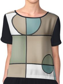 Abstract modern squares and circles seamless pattern texture retro colors background Chiffon Top