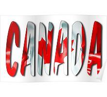 Canada Word With Flag Texture Poster