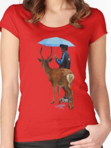 down to cuddle - deer and boy under umbrella Women's Fitted Scoop T-Shirt
