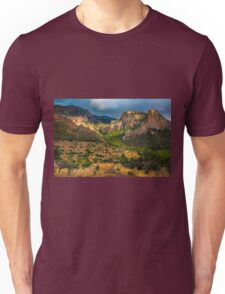 Light breaks on the mountain and trees Unisex T-Shirt