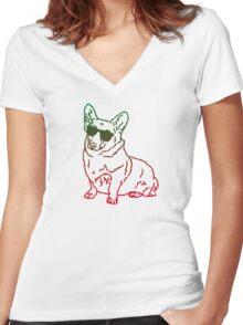 Corgi glass Women's Fitted V-Neck T-Shirt