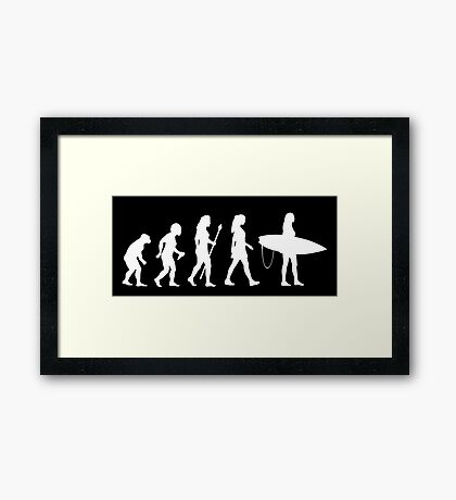 Women's Surfing T Shirt Evolution Silhouette Framed Print
