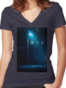 at night under a lantern Women's Fitted V-Neck T-Shirt