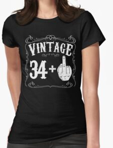 Vintage middle finger salute 35th birthday gift funny 35 birthday 1981 Womens Fitted T-Shirt
