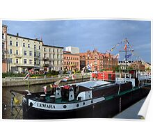 Barge Lemara on the Brda River, Bydgoszcz, Poland Poster