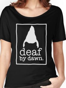 DEAF BY DAWN White Logotype Women's Relaxed Fit T-Shirt